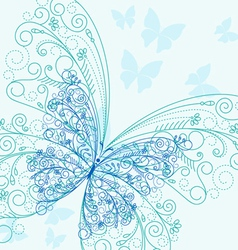 beautiful blue butterflyes in flourish style for i vector image