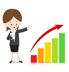 Business woman with growing graph vector image vector image