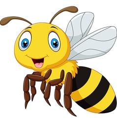 Cartoon smile bee flying isolated vector image
