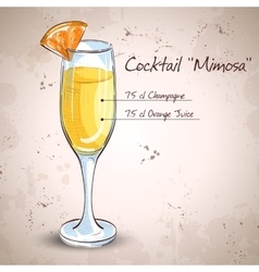 Cocktail alcohol mimosa vector