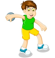 cute boy athlete doing discus throwing vector image