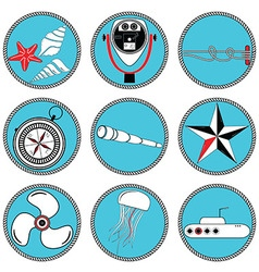 Nautical elements type 2 icons in knottet circle vector image