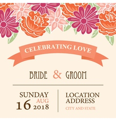 Wedding invitation card with floral background vector image
