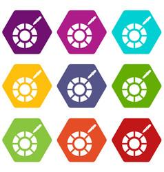 color picker icon set color hexahedron vector image vector image