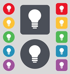 Light lamp Idea icon sign A set of 12 colored vector image