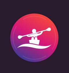 rowing kayak canoe icon vector image