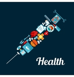 Syringe symbol made up of medical flat icons vector image vector image