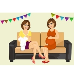 two beautiful women on a baby shower party vector image vector image