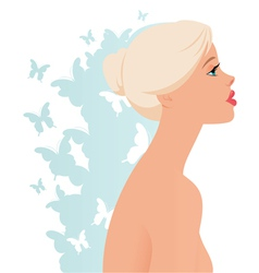 Beautiful blonde girl in profile vector image vector image