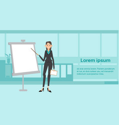 business woman giving presentation over white vector image