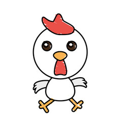 drawing chicken animal character vector image vector image