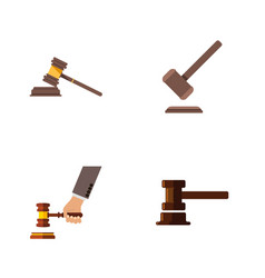 flat icon hammer set of crime government building vector image