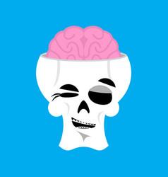 Skull and brain winks emoji skeleton head happy vector