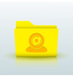 yellow folder on blue background Eps10 vector image vector image