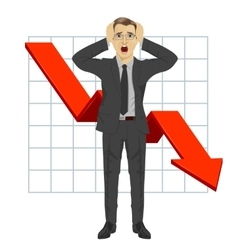 Business man grabbed his head red arrow vector