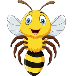 Cute bee flying isolated on white background vector image