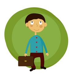 happy schoolboy with a vector image