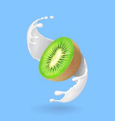 kiwi fruit and milk splash or yogurt realistic vector image vector image