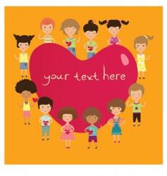 valentine kids vector image vector image