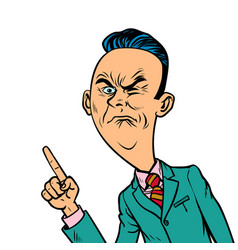 Wrinkled nasty bad businessman points finger vector
