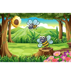 A forest with bees and beehive vector
