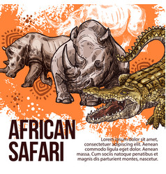 African safari wild animals sketch vector