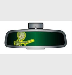 Alien in the rear view mirror vector