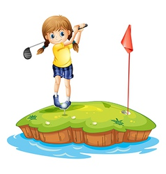 An island with a young girl playing golf vector image