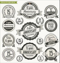 Anniversary retro badges collection 15 years vector