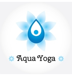 Aqua Yoga sign water drop with human silhouette vector image