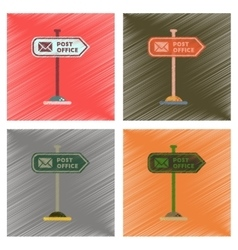 Assembly flat shading style icons sign post office vector