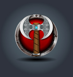 Ax of the warrior rusty iron rounded badge icon vector