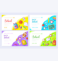 back to school brochure card set student template vector image