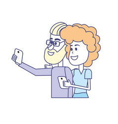 Beauty couple with hairstyle and smartphone in the vector