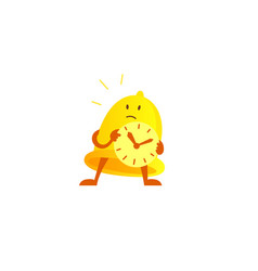 Bell alarm character mascot with a clock in his vector