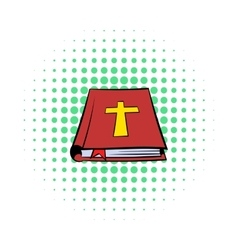 Bible book icon comics style vector image