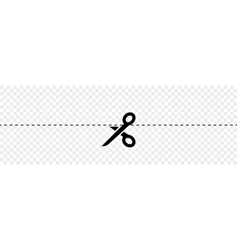 black scissors with cut lines vector image