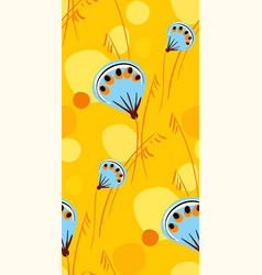 blue yellow seamless pattern floral design vector image