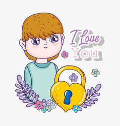 boy with heart padlock and branches leaves to love vector image