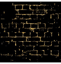 Brick wall gold texture pattern black vector image