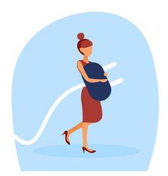 businesswoman holding electric plug preparing vector image