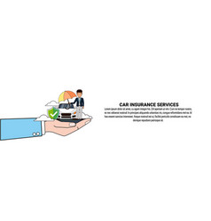 Car insurance service concept horizontal banner vector