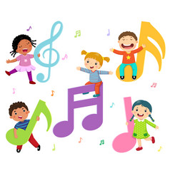 Cartoon kids with music notes vector