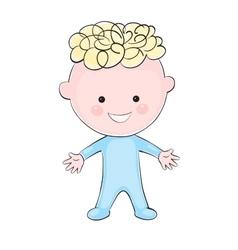 Cartoon little boy on white background vector image