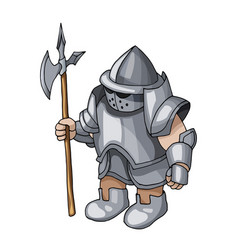 cartoon medieval knight with shield and spear vector image