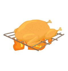 chiken cooked on a barbecue icon cartoon style vector image