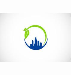 cityscape green environment logo vector image