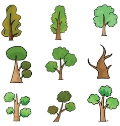 Collection of different tree doodles vector