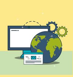 Computer world website email digital marketing vector