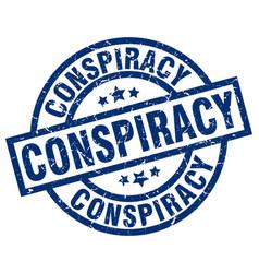 Conspiracy blue round grunge stamp vector